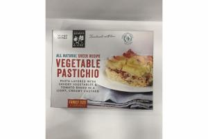 GREEK RECIPE VEGETABLE PASTICHIO PASTA LAYERED WITH SAVORY VEGETABLES & TOMATO BAKED IN A LIGHT, CREAMY CUSTARD