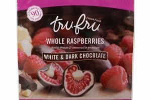 WHOLE RASPBERRIES WHITE & DARK CHOCOLATE