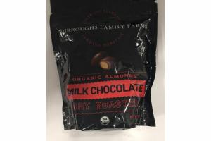 MILK CHOCOLATE DRY ROASTED ORGANIC ALMONDS