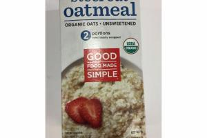 STEEL CUT OATMEAL UNSWEETENED ORGANIC OATS