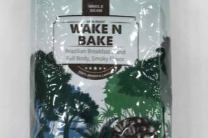 WAKE N BAKE BRAZILIAN BREAKFAST BLEND FULL BODY, SMOKY FLAVOR 100% ARABICA WHOLE BEAN COFFEE