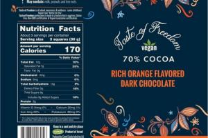 70% COCOA RICH ORANGE FLAVORED DARK CHOCOLATE