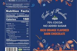 70% COCOA NO ADDED SUGAR RICH ORANGE FLAVORED DARK CHOCOLATE