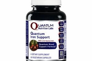 QUANTUM IRON SUPPORT, FEATURING LIVE-SOURCE IRON, QUANTUM BLOOD SUPPORT FORMULA A DIETARY SUPPLEMENT VEGETARIAN CAPSULES