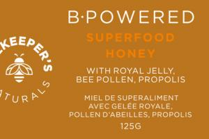 B-POWERED WITH ROYAL JELLY, BEE POLLEN, PROPOLIS SUPERFOOD HONEY