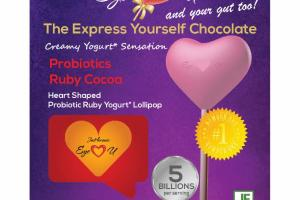 HEART SHAPED PROBIOTIC RUBY COCOA YOGURT LOLLIPOP