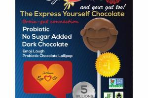 EMOJI LAUGH PROBIOTIC DARK CHOCOLATE LOLLIPOP