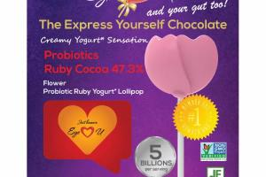 FLOWER PROBIOTICS RUBY COCOA 47.3% YOGURT LOLLIPOP