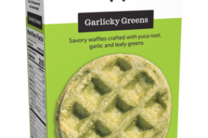 GARLICKY GREENS SAVORY WAFFLES CRAFTED WITH YUCA ROOT, GARLIC AND LEAFY GREENS