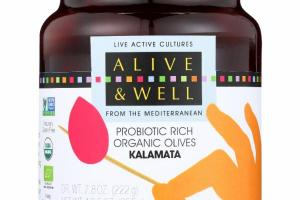 KALAMATA PROBIOTIC RICH ORGANIC OLIVES