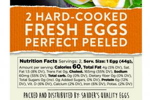2 Hard-cooked Fresh Eggs