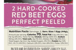 2 Hard-cooked Red Beet Eggs Perfect Peeled