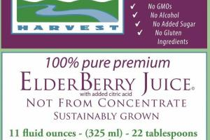 100% PURE PREMIUM ELDERBERRY JUICE WITH ADDED CITRIC ACID