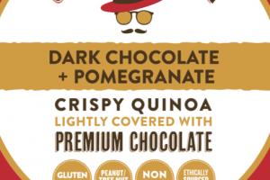 DARK CHOCOLATE + POMEGRANATE CRISPY QUINOA LIGHTLY COVERED WITH PREMIUM CHOCOLATE