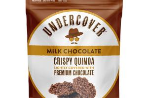 MILK CHOCOLATE CRISPY QUINOA LIGHTLY COVERED WITH PREMIUM CHOCOLATE