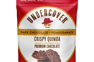 DARK CHOCOLATE + POMEGRANATE CRISPY QUINOA LIGHTLY COVERED WITH PREMIUM CHOCOLATE