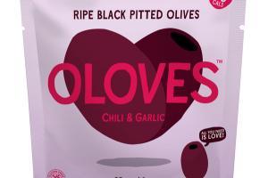 CHILI & GARLIC RIPE BLACK PITTED OLIVES