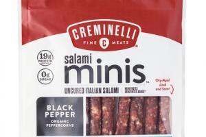 BLACK PEPPER SALAMI MINIS UNCURED ITALIAN SALAMI