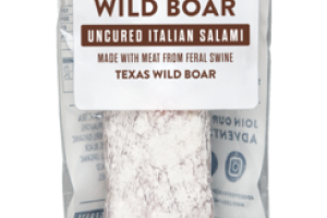 TEXAS WILD BOAR MEAT FROM FERAL SWINE UNCURED ITALIAN SALAMI