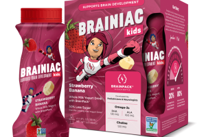KIDS STRAWBERRY BANANA WHOLE MILK YOGURT DRINK WITH BRAINPACK