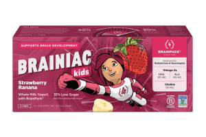 KIDS STRAWBERRY BANANA WHOLE MILK YOGURT WITH BRAINPACK TUBES