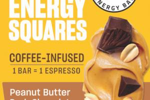 PEANUT BUTTER DARK CHOCOLATE COFFEE-INFUSED ENERGY SQUARES BAR