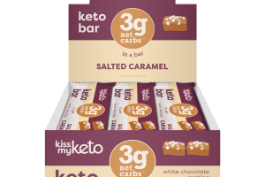 SALTED CARAMEL WHITE CHOCOLATE COATING KETO BAR