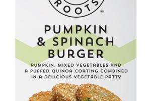 PUMPKIN & SPINACH, MIXED VEGETABLES AND A PUFFED QUINOA COATING COMBINED IN A DELICIOUS VEGETABLE PATTY BURGER
