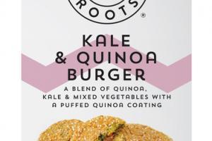 KALE & QUINOA BURGER BLEND OF QUINOA, KALE & MIXED VEGETABLES WITH A PUFFED QUINOA COATING