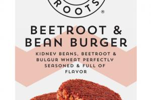 BEETROOT & BEAN BURGER KIDNEY BEANS, BEETROOT & BULGUR WHEAT PERFECTLY SEASONED & FULL OF FLAVOR