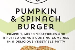 PUMPKIN, MIXED VEGETABLES AND A PUFFED QUINOA COATING COMBINED IN A DELICIOUS VEGETABLE PATTY BURGER
