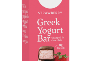 STRAWBERRY GREEK YOGURT BAR WRAPPED IN CHOCOLATE