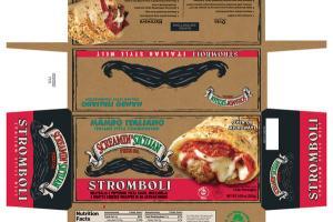 MAMBO ITALIANO ITALIAN STYLE COMBINATION MEATBALLS & PEPPERONI, PIZZA SAUCE, MOZZARELLA & RICOTTA CHEESES WRAPPED IN AN ARTISAN DOUGH STROMBOLI