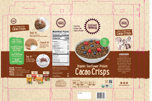 CACAO CRISPS ORGANIC SUNFLOWER PROTEIN CEREAL