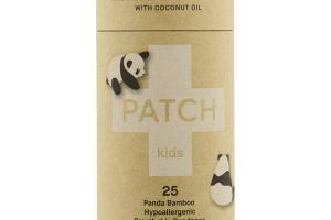 KIDS ABRASIONS & GRAZES PANDA BAMBOO HYPOALLERGENIC BREATHABLE STRIP BANDAGES WITH COCONUT OIL