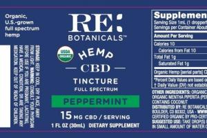 15 MG CBD HEMP FULL SPECTRUM DIETARY SUPPLEMENT, PEPPERMINT