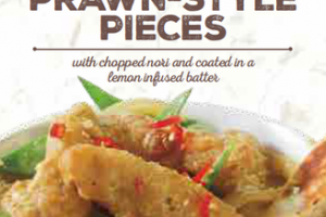 MEAT FREE TEMPURA BATTERED PRAWN-STYLE PIECES WITH CHOPPED NORI AND COATED IN A LEMON INFUSED BATTER