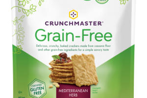 MEDITERRANEAN HERB DELICIOUS, CRUNCHY, BAKED CRACKERS MADE FROM CASSAVA FLOUR AND OTHER GRAIN-FREE INGREDIENTS FOR A SIMPLE SAVORY TASTE