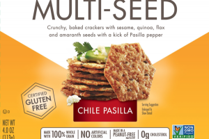 HOT & SPICY CHILE PASILLA MULTI-SEED CRUNCHY, BAKED CRACKERS WITH SESAME, QUINOA, FLAX AND AMARANTH SEEDS WITH A KICK OF PASILLA PEPPER