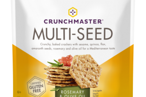 ROSEMARY & OLIVE OIL MULTI-SEED CRUNCHY, BAKED CRACKERS WITH SESAME, QUINOA, FLAX, AMARANTH SEEDS, ROSEMARY AND OLIVE OIL FOR A MEDITERRANEAN TASTE
