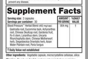 BLOOD PRESSURE FORMULA HERBAL SUPPLEMENT VEGAN CAPSULES