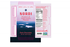RASPBERRY & TANGY LICORICE FLAVORED DARK CHOCOLATE NORDI