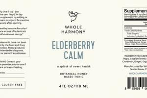 A SPLASH OF SWEET HEALTH BOTANICAL HONEY BASED TONIC ELDERBERRY CALM