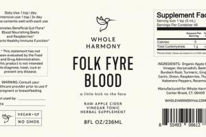 FOLK FYRE BLOOD VINEGAR TONIC HERBAL SUPPLEMENT RAW APPLE CIDER