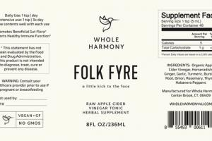 FOLK FYRE RAW APPLE CIDER VINEGAR TONIC HERBAL SUPPLEMENT