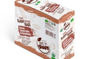 CACAO, CACAO NIBS & HAZELNUTS PURE ORGANIC RAW BAR