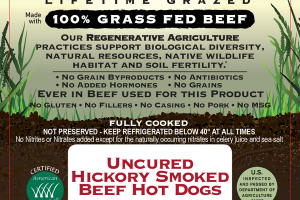 100% GRASS FED UNCURED HICKORY SMOKED BEEF HOT DOGS