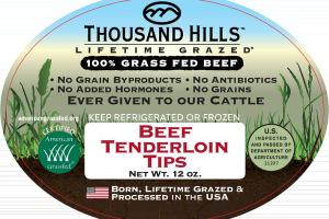 100% GRASS FED BEEF TENDERLOIN TIPS