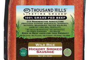 WILD RICE HICKORY SMOKED 100% GRASS FED BEEF SAUSAGE