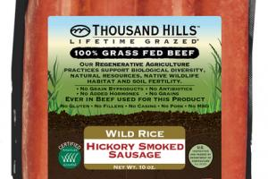 WILD RICE HICKORY SMOKED 100% GRASS FED BEEF SAUSAGE